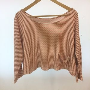 Anthropologie Pure + Good Striped Slouchy Crop Tee